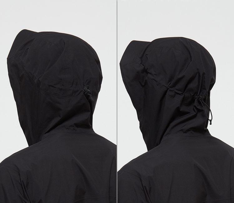ノースフェイスクラウドジャケットフードは襟元で調節が可能なワンハンドアジャスター