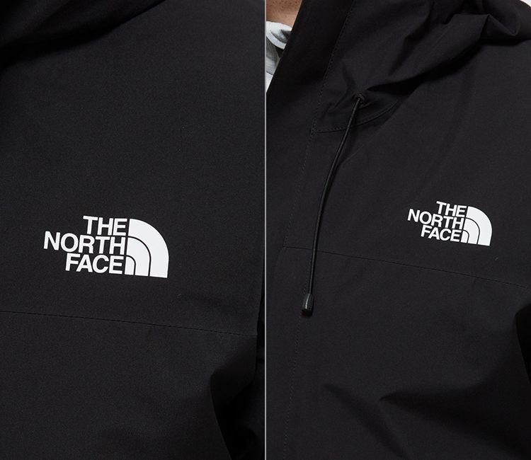 ノースフェイスクラウドジャケット胸部分にはプリントロゴ、フードのフィット感を調節する首元のドローコード