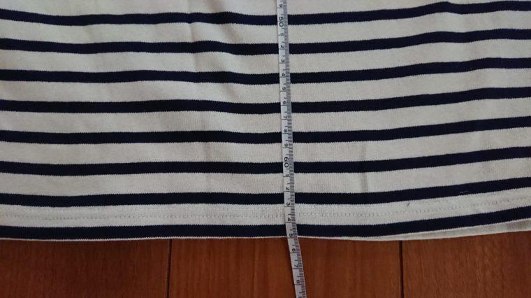 オーシバルボートネック長袖TシャツB211縮率画像2