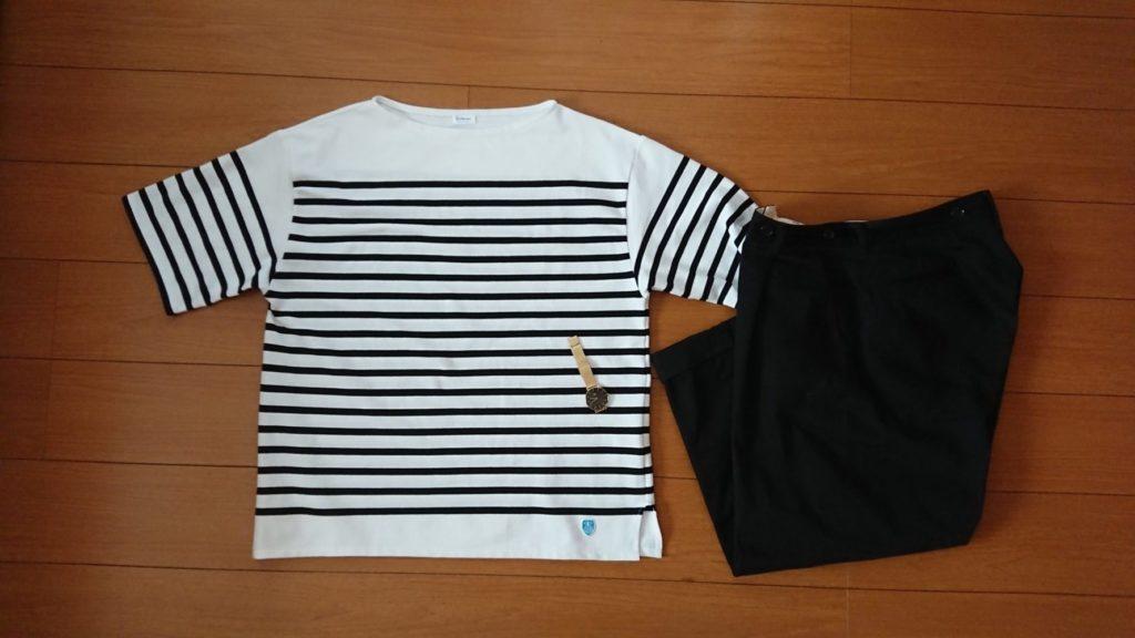 ボートネックボーダーTシャツ×黒のワイドトラウザー×Petite Evergold1