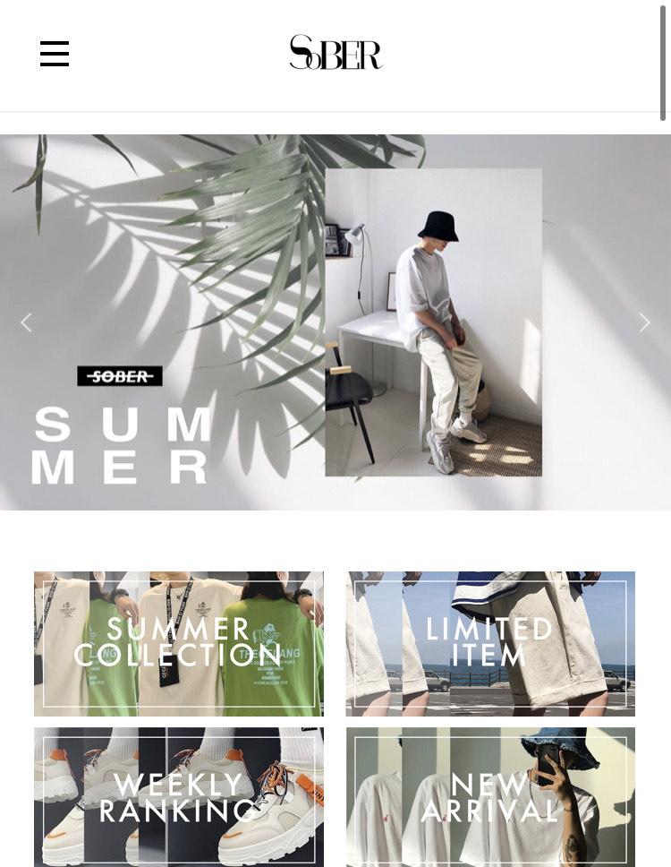 韓国メンズファッション『SOBER』の通販サイト