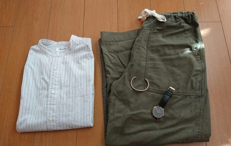 DW×バンドカラーシャツ×ワイドベーカーパンツ