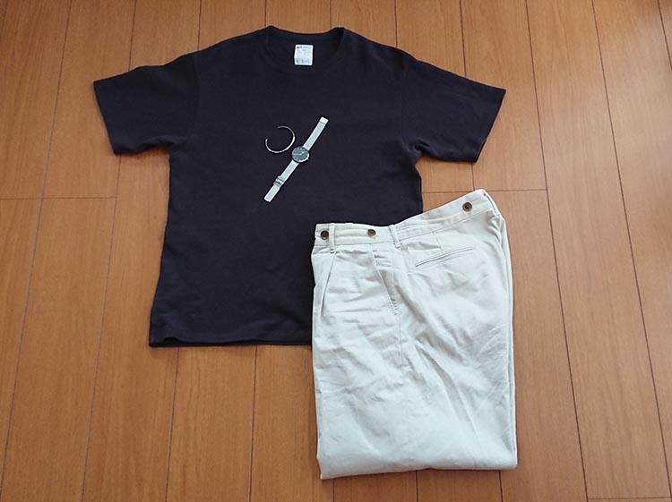DW×鹿の子Tシャツ×ワイドチノトラウザー